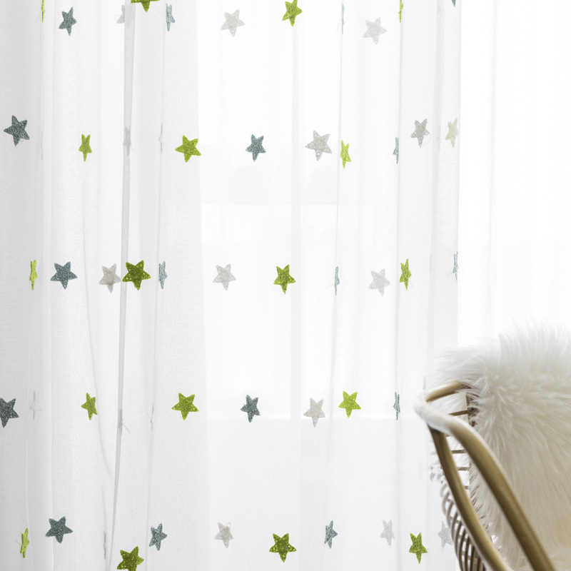 ירוק רשת מגבת רקמת כוכב חלון מסך טול לסלון ילדי קריקטורה וילונות מרפסת חדר שינה sheer M065-40