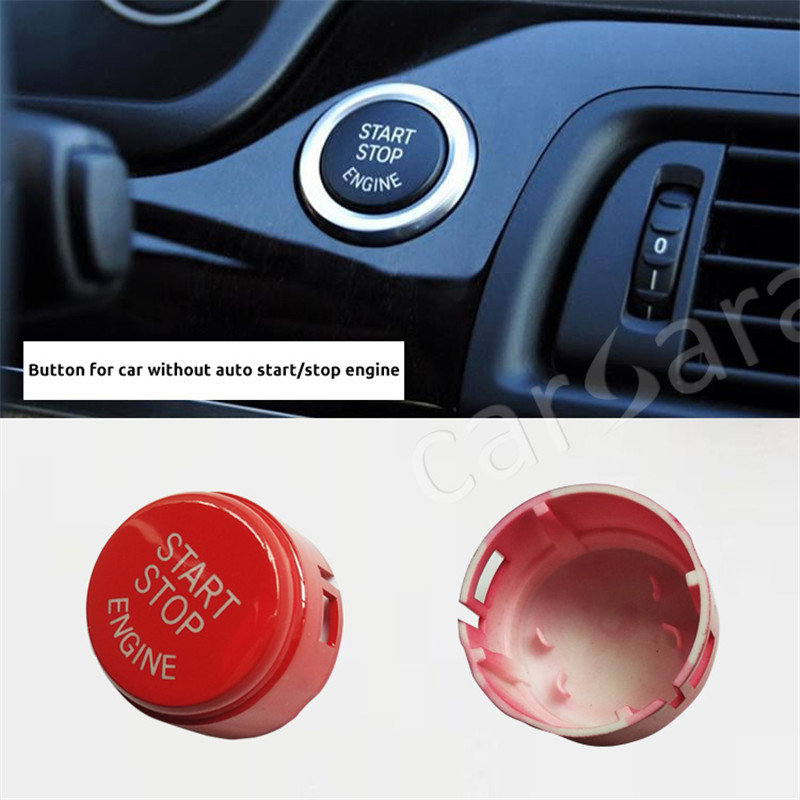 Red Start Stop Engine Push Button Switch Ignition Switch Panel Cover For BMW F