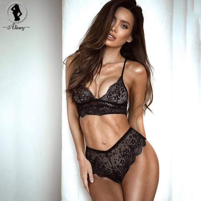 2018 Sexy Push Up Bra Set Seamless Bras Plus Size Black Lace Bralette Erotic Lingerie Adjustable Women's Underwear Sets