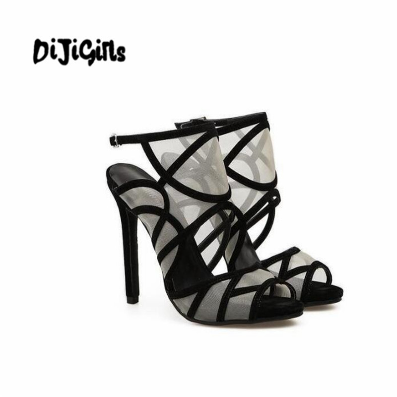 76581c84b17d6 Women Elegant Sexy Sandals Pumps Mixed Color Mesh Strappy Open Toe Sandals  Wedding Bridal Shoes Slingback High Heels-in High Heels from Shoes on ...