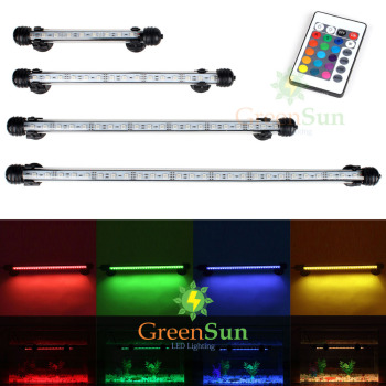 EU US Plug RGB Remote Aquarium Light Fish Tank Waterproof 5050 SMD LED Bar Light Aquatic Lamp Submersible 18-48CM