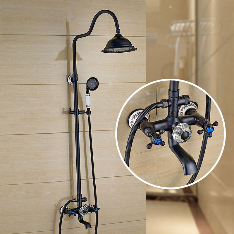 Shower Faucets Black Brass Shower Set 8 Inch Shower Head Hand Shower Sprayer Commodity Shelf Wall Mounted Mixer Tap WF