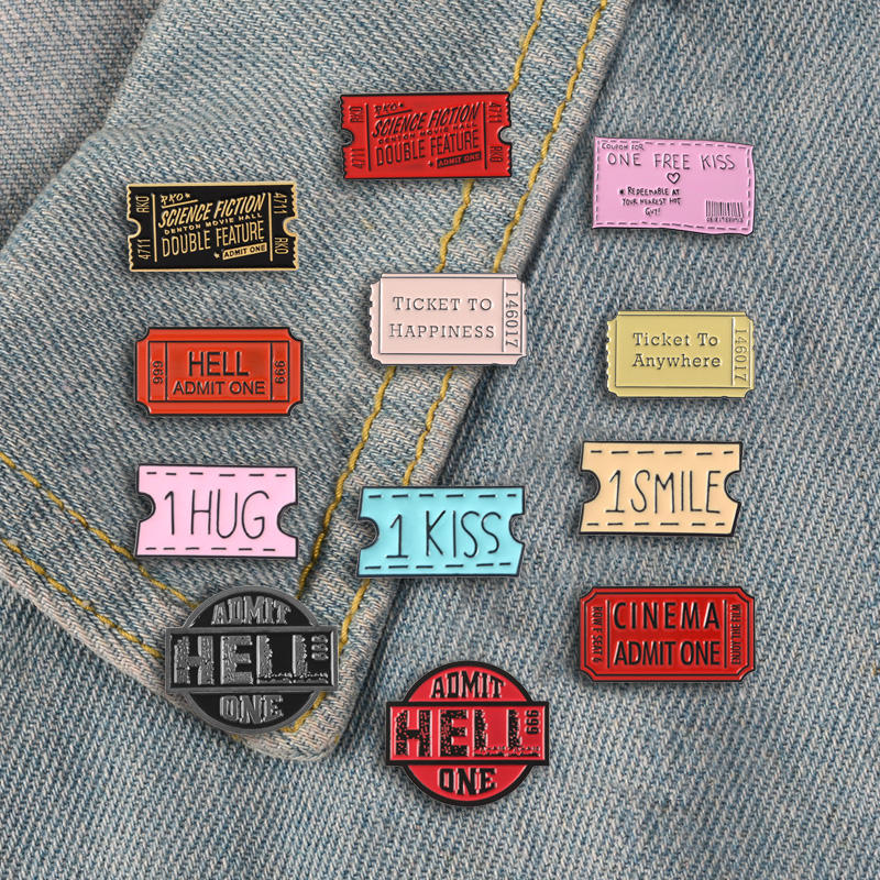 Picket Pins Go Anywhere Enamel Pins Brooches Cute Kiss Smile Hug Lapel Pins Badges Adimet Others Movie Jewelry Gift For Friends