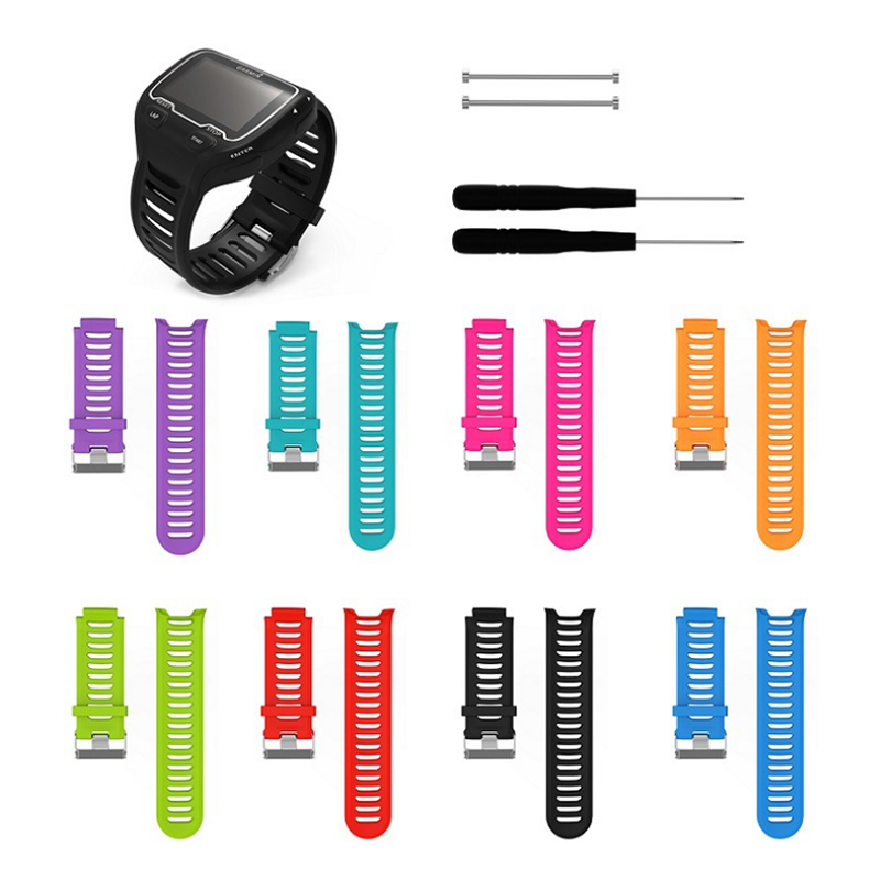 Essidi Waterproof Breathable Silicone Watch <font><b>Strap</b></font> Replacement For <font><b>Garmin</b></font> Forerunner <font><b>910XT</b></font> Watch Band Pins Tool Kit image
