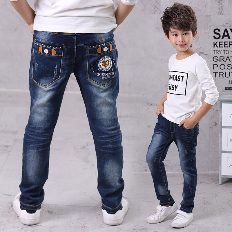 New Brand Kids Jeans Boys Casual Winter Thick Long Jeans Pants Baby Boy Jeans Cotton Warm Denim Trousers Boys Fashion Clothes fashion summer new tide brand men s jeans straight embroidered holes jeans men denim blue ripped jeans trousers
