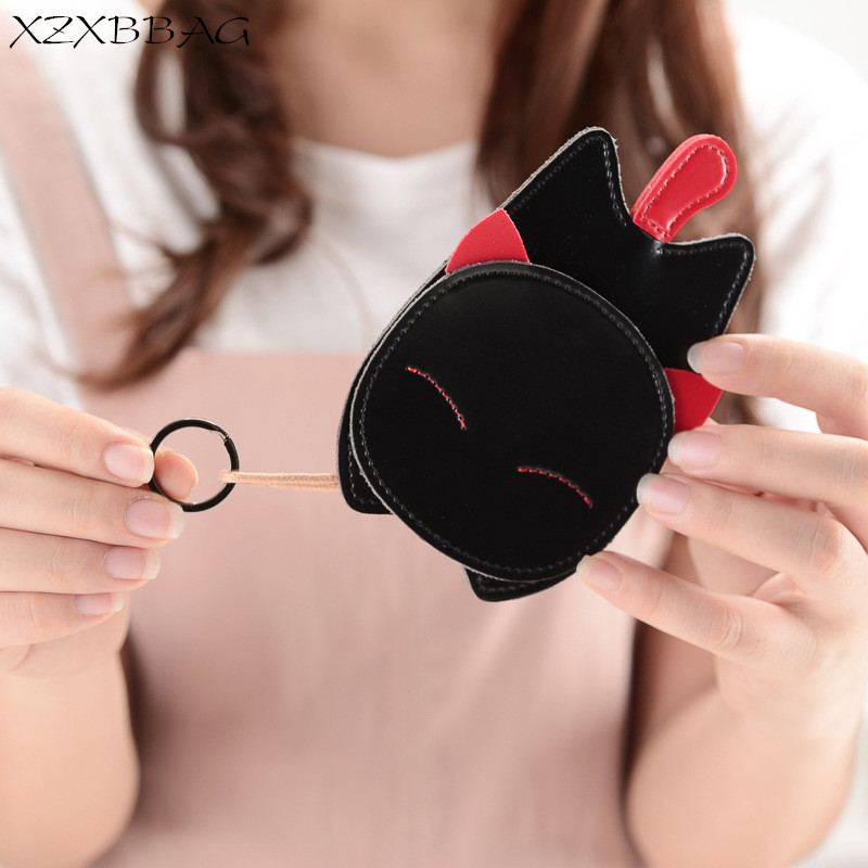 XZXBBAG Cute Cartoon Cat Key Wallets Women Key Holder Organizer Bag Female Car Key Housekeeper Student Keychain Case XB117 cute cartoon animal cat silicone key holder case bag wallet pendant 9xrx