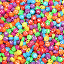200Pcs Mixed Colorful Letter Acrylic Beads 7mm For Jewellery Marking Loose Space