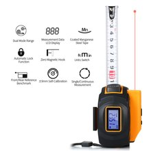 40m 60m Digital Laser Distance Meter Rangefinder Handheld Infrared Range Finder 2 in 1 Measuring Tape Laser Ruler leter cp 80 80 m laser rangefinder handheld range finder laser ruler built ranging motor
