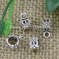 50pcs/lot Zinc Alloy Silver Tone Charm Pendant Bails Cord end For Necklace DIY Jewelry Making Accessories 11x5mm Hole:5mm K01915