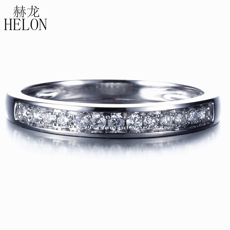 HELON Solid 14K White Gold Full Cut 100% Genuine Natural Diamonds Ring Wedding Finger Vintage Match Band For Women Fine Jewelry цена 2017