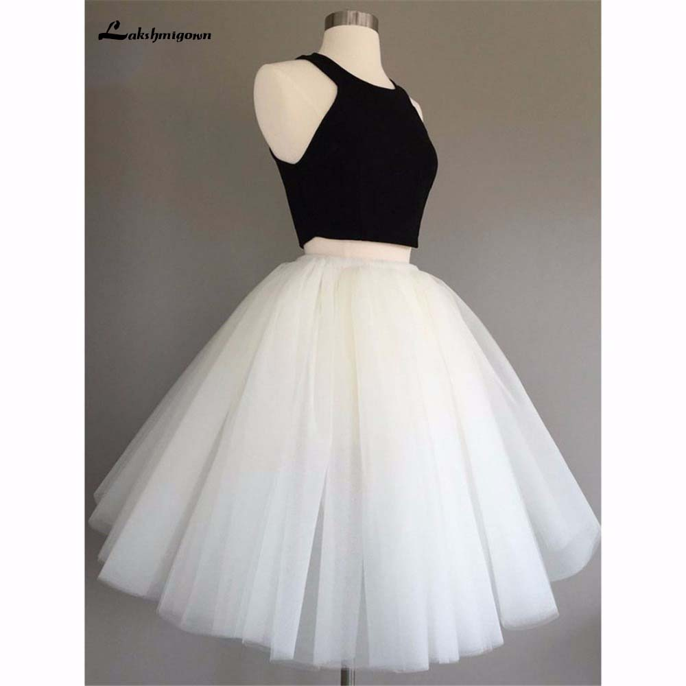 863bb60d054 Two Piece A-Line Tulle Homecoming Dress black white Cocktail Dresses Party  Gowns For Graduation