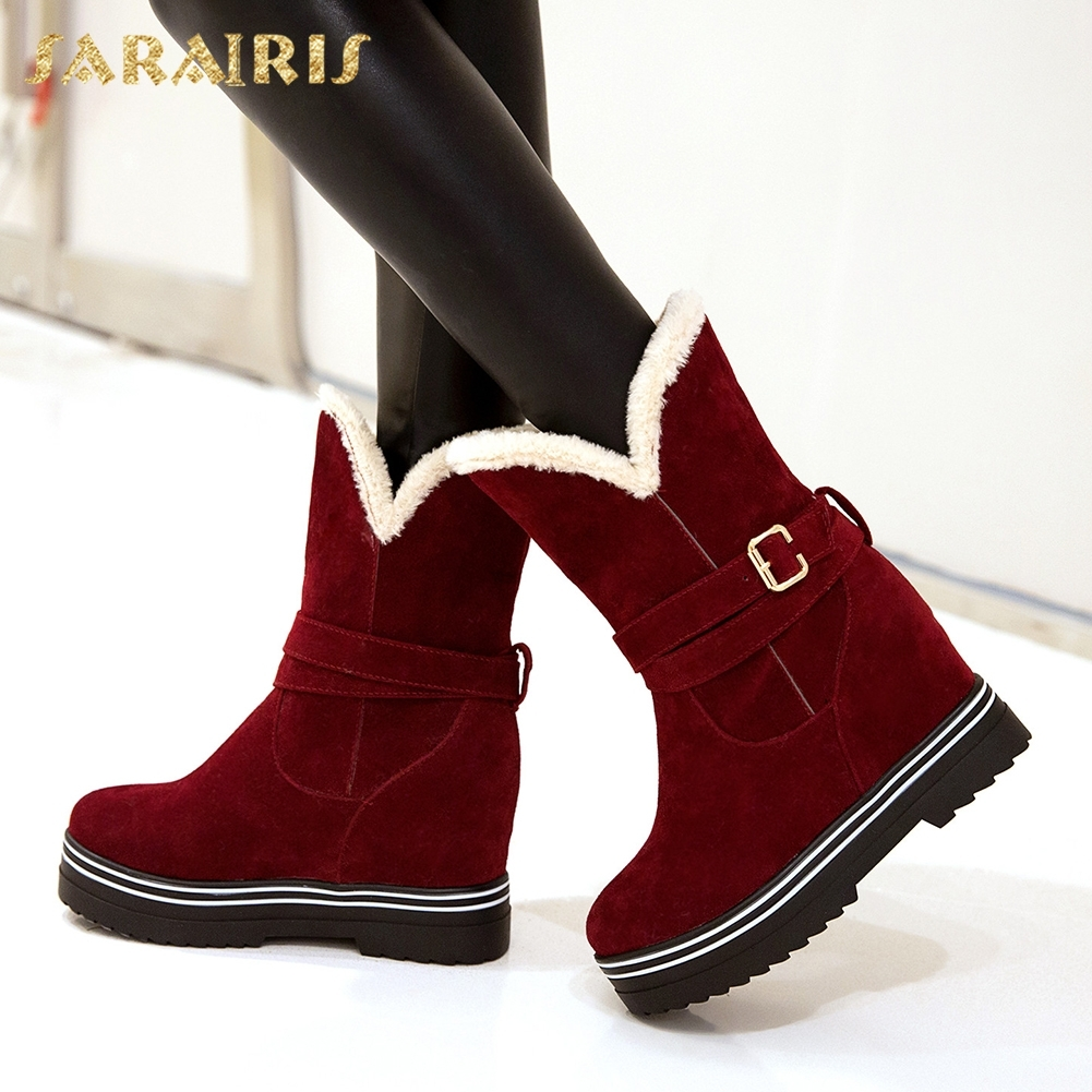 SARAIRIS plus size 33-43 Add Fur Snow Boots Increasing Heels Female Women Shoes Winter Boots Slip On Hot Sale Mid Calf Boots esveva 2019 women shoes mid calf boots round toe med heels winter boots short plush slip on height increasing snow boots 34 43