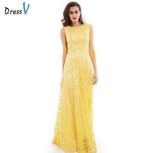 Image 1 - Dressv daffodil long evening dress cheap scoop neck appliques backless a line wedding party formal dress evening dresses