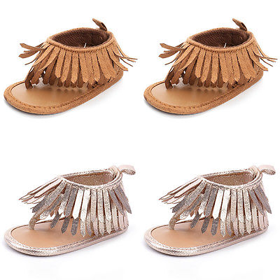 Fashion Baby Boys Girls Leather Solid Sandals Fringe Shoes Toddler Infants Sizes 0-12M Sandals