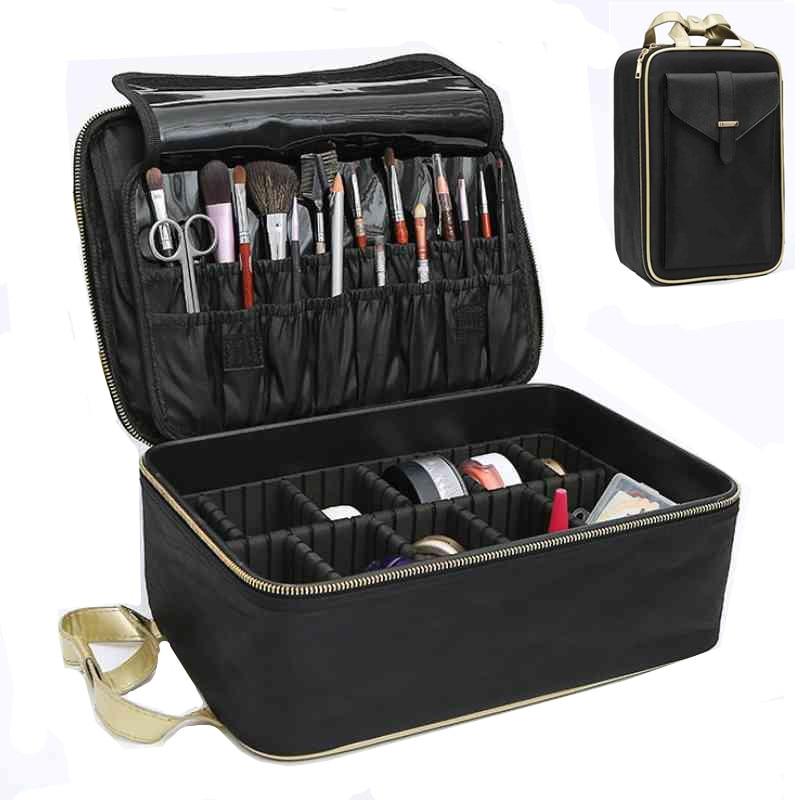New Hot Makeup Box Travel Waterproof Women Cosmetic Bag High Quality Professional Storage Brush Beautician Organizer Make Up Bag mint waterproof cosmetic bag storage bag may03