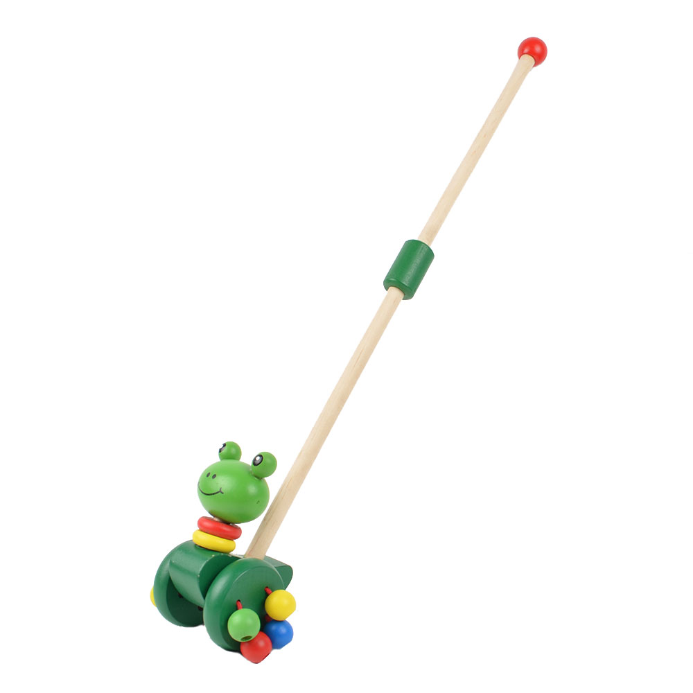 BOHS Baby Wooden Hand Frog Push And Pull Animal,Toddler Toys Walker Children Kids Toy Car Outdoor Sports juguetes push along walking toy wooden animal patterns funny kids children baby walker toys duckling dog cat development eduacational toy