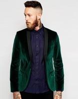 Groomsmen Shawl Black Lapel Groom Tuxedos Velvet Green Jacket Men Suits Wedding Best Man (Jacket+Pants+Tie+Hankerchief) B895