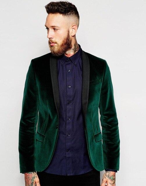 Padrinhos xale preto lapela do noivo smoking de veludo jaqueta verde homens vestidos de casamento melhor homem ( Jacket + Pants + Tie + lenço ) B895