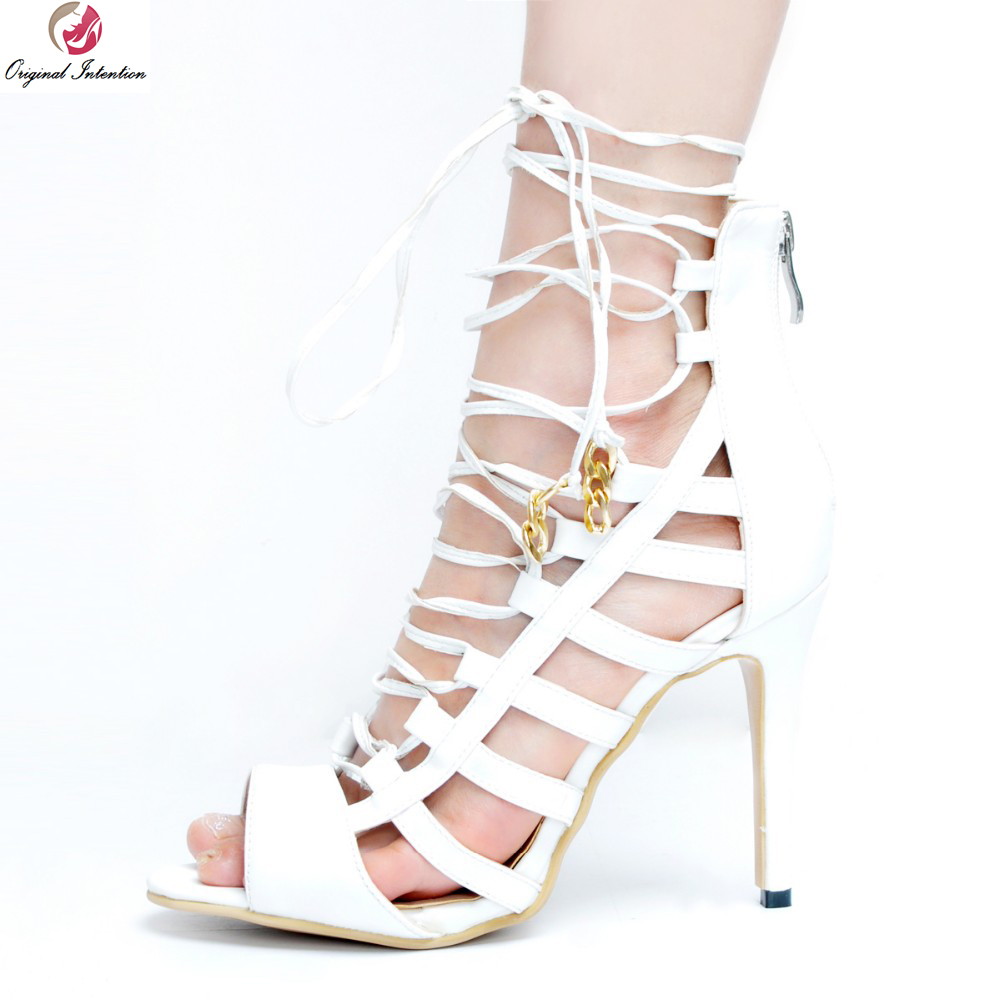 Original Intention New Popular Women Sandals Elegant Peep Toe Thin Heels Sandals Stylish White Shoes Woman Plus US Size 4-15 hot selling sexy sloid thin heels sandals woman new desig lace red white black sandals peep toe elegant for women free sipping