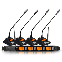 UK 400 UHF 4x100 Channel Digital Wireless Microphone System 4 Table Meeting Mic Unit