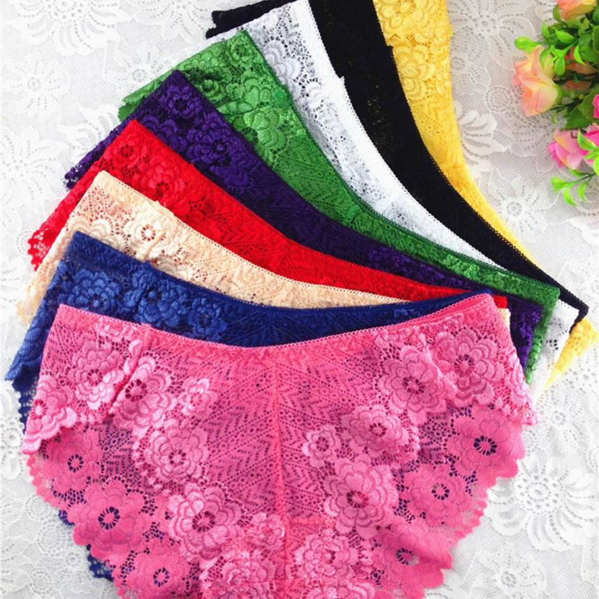 Sunfree Sexy Lady Breathable Lingerie Pretty Women Tempting   Panties   Hot Selling Seamless Solid Lace Low Rise Underwear 45P