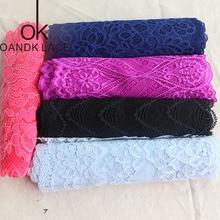 1 yarda de encaje elástico de algodón de costura apliques de encaje con proceso de decoración de la boda