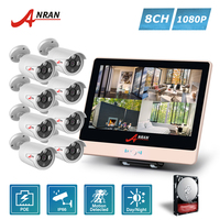 ANRAN P2P 4CH 1080P 12 Inch LCD POE NVR Home Security System 3 Array IR Night