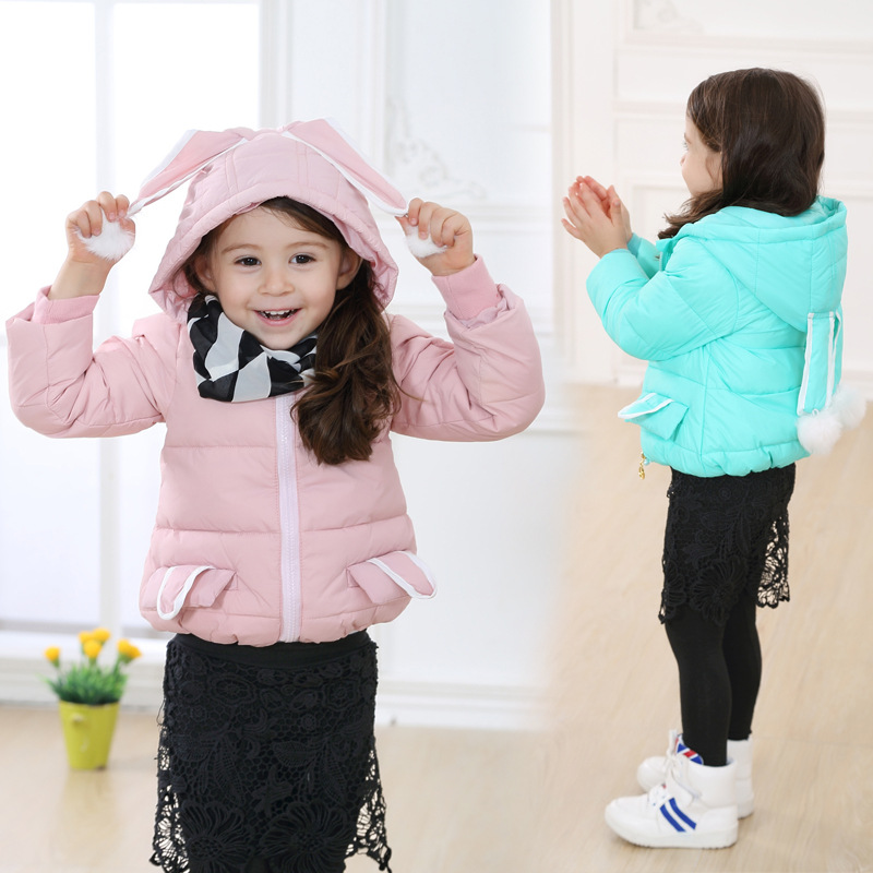 Cartoon Jackets White Duck Down Kids Winter Jackets for Girls Rabbit Hooded Coat Kids Coats Brand