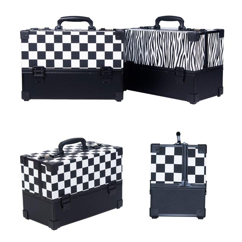 Luggage Suitcase Light-Handbag Toolbox Makeup Nails Beauty-Box Girl Women Password-Lock