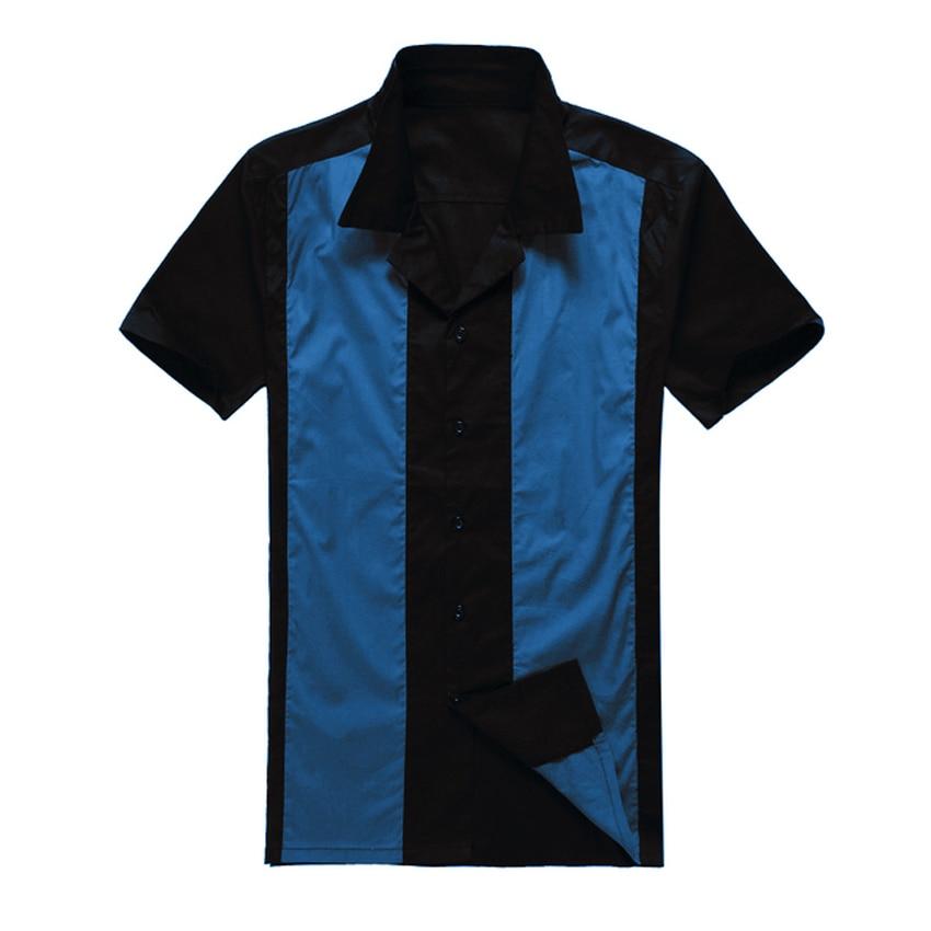 पार्टी क्लब के लिए 2019 नई ब्रिटेन डिजाइन पुरुषों की आरामदायक शर्ट काले नीले रॉकबिली अर्द्धशतक कपड़े