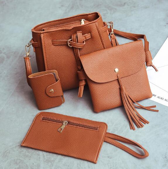 nice on sale set of 4 women plain pu leather shoulder bag small fashion bow tassel cross body bucket bag