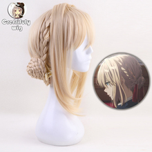 High quality Violet Evergarden Anime Cosplay Wig Women Synthetic Hair Blonde Heat Resistant Costume Party Braided Wigs + Wig Cap все цены
