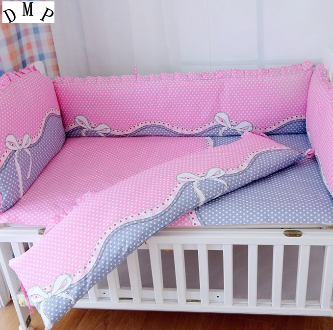 Promotion! 6PCS crib bedding set kit bed around pillow cot nursery bedding kit berco baby bed (bumpers+sheet+pillow cover) promotion 6pcs baby bedding set girls cot set bumpers baby nursery crib set bed kit bumpers sheet pillow cover