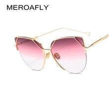 673a6ec8f MEROAFLY القط العين خمر العلامة التجارية مصمم روز الذهب مرآة النظارات  الشمسية للنساء معدن عاكس عدسة مسطحة الشمس نظارات الإناث