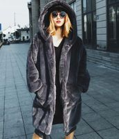 HCBLESS Winter women's thickening plus cotton long hooded fur coat loose large version