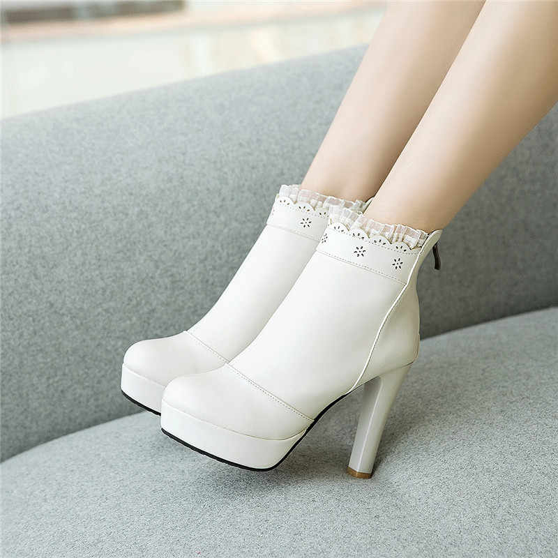YMECHIC 2018 Autumn Sweet Lolita Pink Party Wedding Shoes Bride High Heel  Lace Ruffles Plus Size 6f426c77c46a