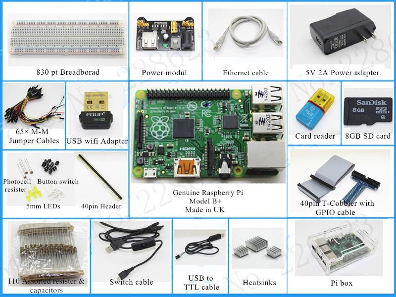 (Pi included) Raspberry Pi Model B plus Starter Pack Starter kits pi box cable leds breadboard Pi Cobbler Breakout Kit GPIO diy