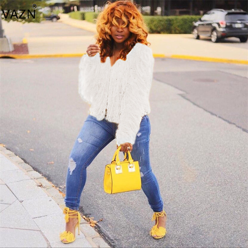 VAZN Autumn 2018 High Quality Casual Temperate Fashion Women Outwear Solid Full Sleeve Women Sweater Bodycon Outwear ME172