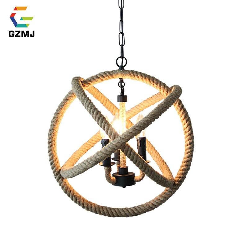 GZMJ Style campagnard pendentif lumières E14 titulaire chanvre corde suspension lampe Loft Hanglamp pour salon salle à manger chambre Restaurant