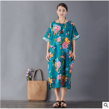 Summer new butterfly flower cotton and linen printed loose retro dress