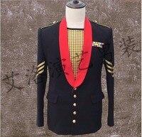 S 3XL New catwalk black suit jacket men's Floral Blazer nightclub bar DJ hosting singer costumes Vintage Party Wear Casual Suit