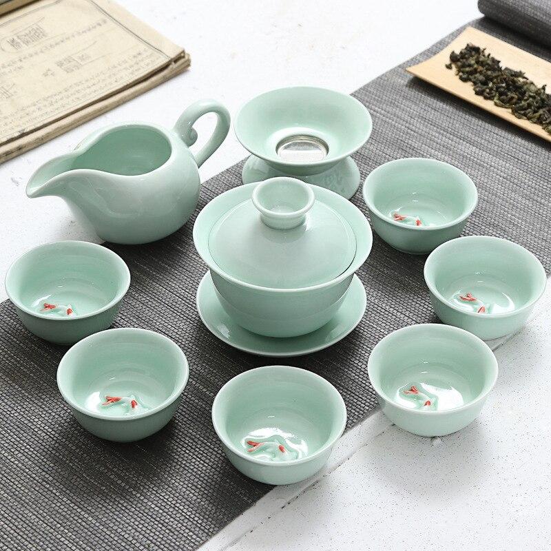 9 pièces thé chinois Set céramique Kungfu théière Gaiwan filtre porcelaine café thé tasses cérémonie pour noir/puer/vert/blanc cha cadeaux