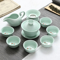 9pcs chinese Tea Set Ceramic Kungfu Teapot Gaiwan Filter Porcelain Teaset Tea Cups Ceremony for black/puer/green/white cha gifts