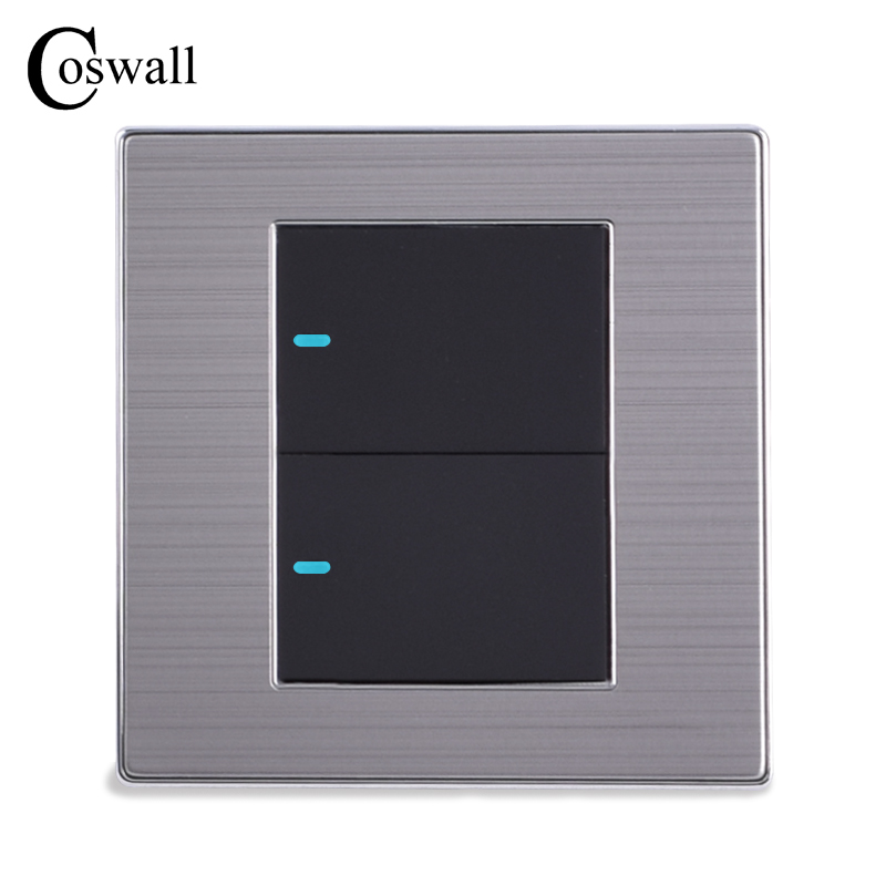 Coswall 2 Gang 2 Way Luxury LED Light Switch Push Button Wall Switch Interruptor Brushed Silver Panel 10A AC 110~250V uk standard luxury gold switch panel wall switch 110 250v 16a push button switch and 4 gang 2 way light switch