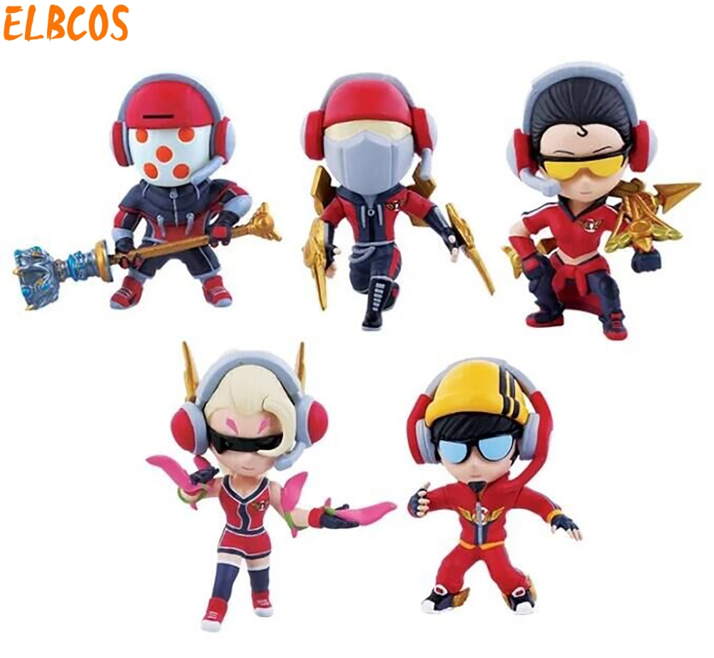 Cosplay LOL S3 SKT1 Faker Champion 10cm/3.9'' Q Version PVC Garage Kit Action Figures Toys GK Model 5pcs/set