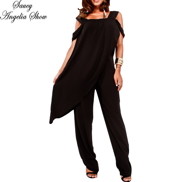 2ac2a9c39347 SAUCY ANGELIA Rompers Womens Jumpsuit Sexy Chiffon Zip Irregular Shawl  Bodysuits Side Cape Party Overalls Femme Playsuits M-XXL