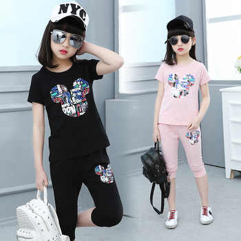 Kids Girls Summer Clothing 2018 Big Kids Short Sleeve Leggings Children\'s Clothing Children\'s Cartoon Set 4 8 14T Clothes Sets