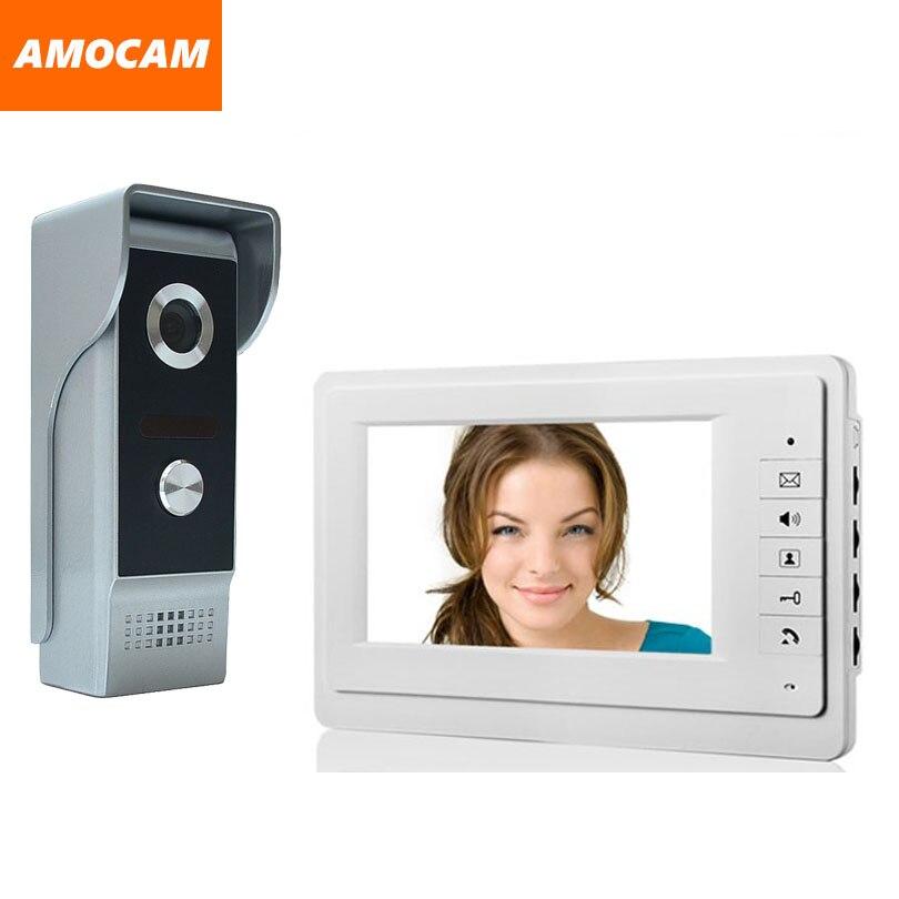 Güvenlik ve Koruma'ten Video Interkom'de 7 ''renkli monitör Görüntülü Kapı Telefonu interkom kapı zili Sistemi Kiti Video Diyafon Hoparlör Alüminyum alaşım gece görüş Kamera title=