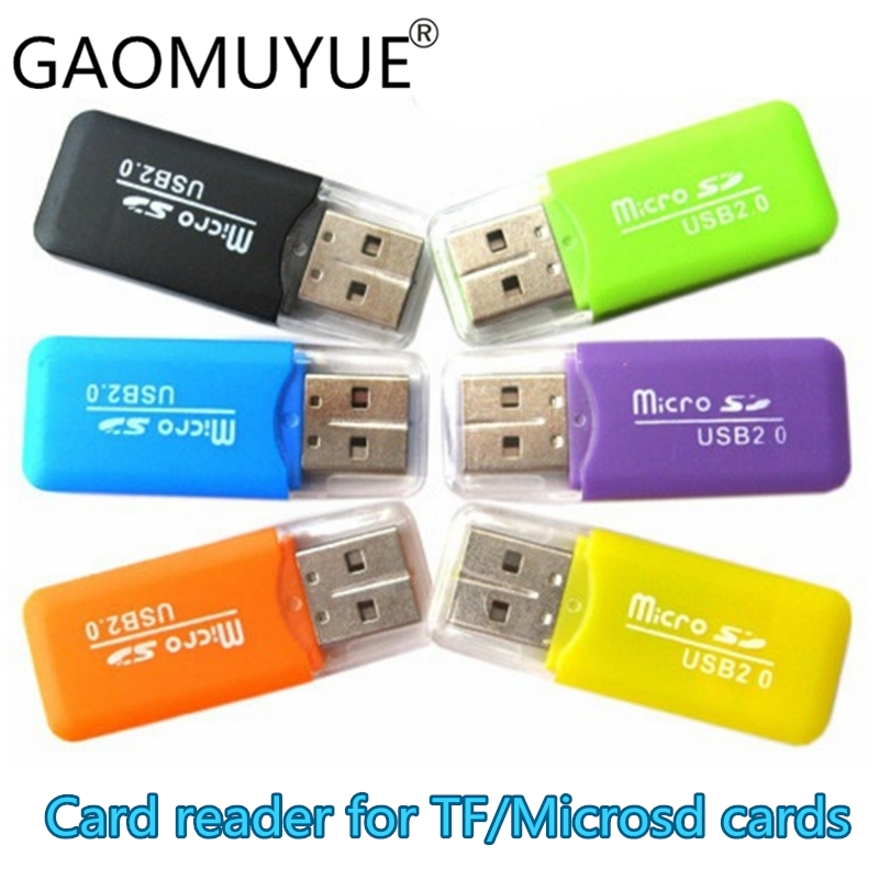 GAOMUYUE USB 2.0 Card Reader For Tf Card In Card Readers For Microsd & Micro Sd Card With SD Adapter To Choose C-1 Free Shipping