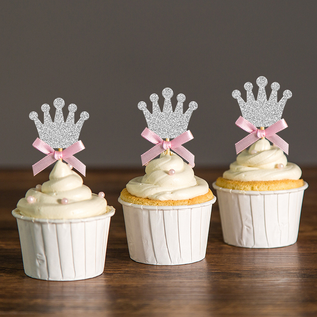 Custom Bow Color&Gold/Silver Black Glitter Crown Cupcake Toppers Picks Baby Shower Princess/Kids 1st Birthday Party Decorations